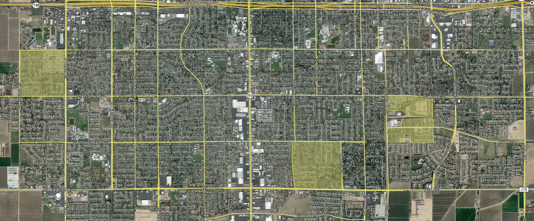 Map of treatment areas in Visalia